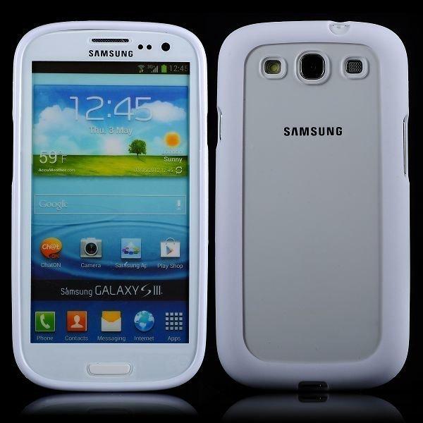 Clear Back Valkoinen Samsung Galaxy S3 Silikonikuori