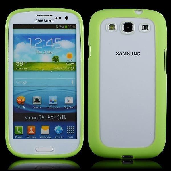 Clear Back Vihreä Samsung Galaxy S3 Silikonikuori