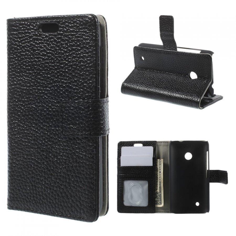 Cowhide Musta Nokia Lumia 530 Aito Nahkakotelo