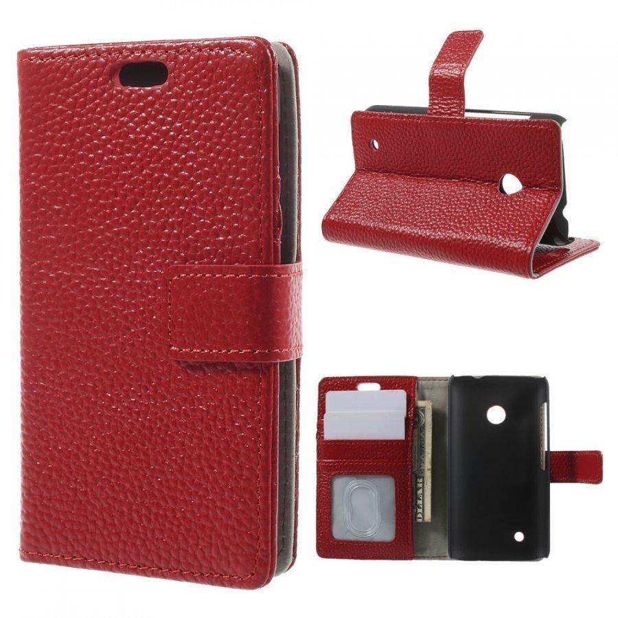Cowhide Punainen Nokia Lumia 530 Aito Nahkakotelo