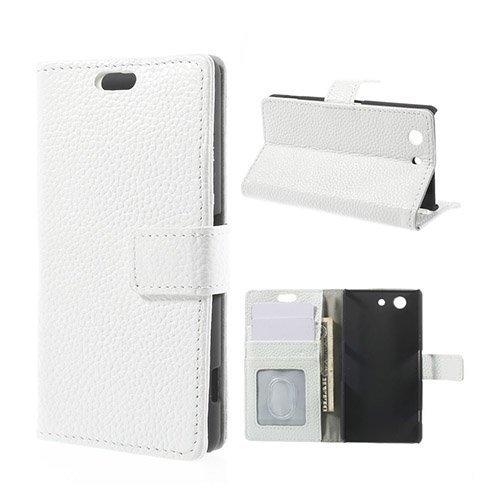 Cowhide Sony Xperia Z3 Compact Aito Nahkakotelo Valkoinen