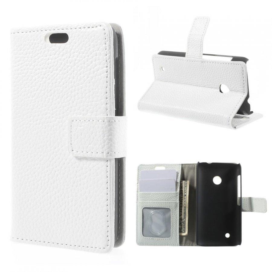 Cowhide Valkoinen Nokia Lumia 530 Aito Nahkakotelo