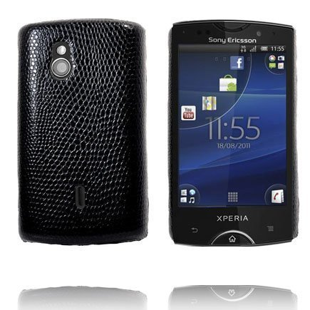 Croco Musta Sony Ericsson Xperia Mini Pro Suojakuori