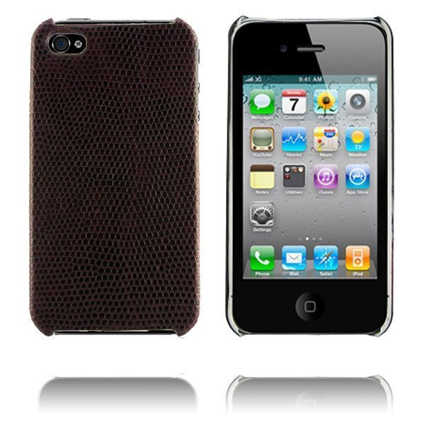 Croco Tummanruskea Iphone 4 Suojakuori