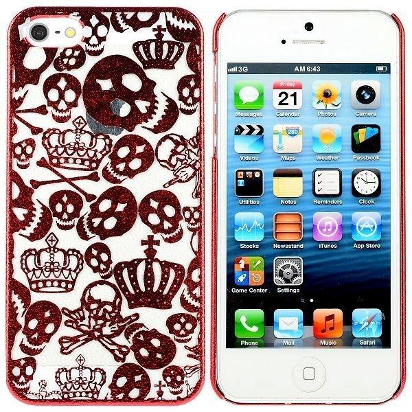 Crowns & Skulls Punainen Iphone 5 Suojakuori