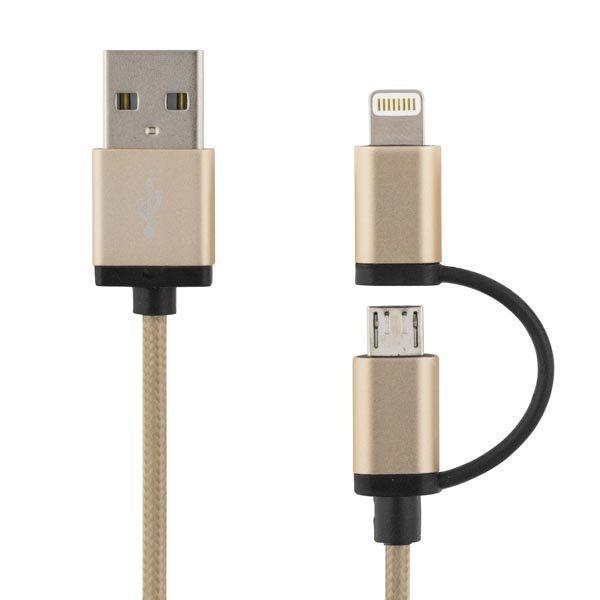 DELTACO PRIME USB-kaapeli USB Micro B ja lightning MFi 1m kulta