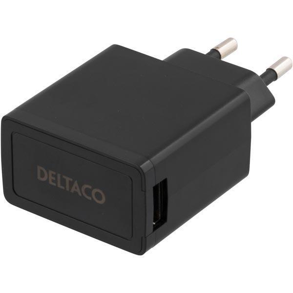 DELTACO Seinälaturi 230V 5V USB 2.1A 1x USB-portti musta