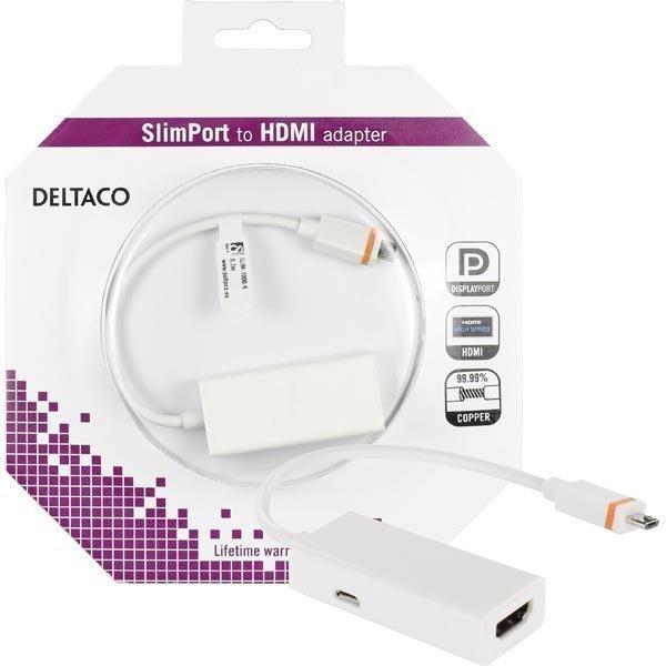 DELTACO Slimport HDMI-sovitin USB Micro B ur 0 2m valk