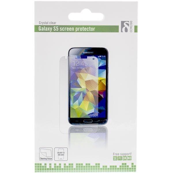 DELTACO läpinäkyvä suojakalvo Galaxy S5:lle kristallinkirk 1-pakk