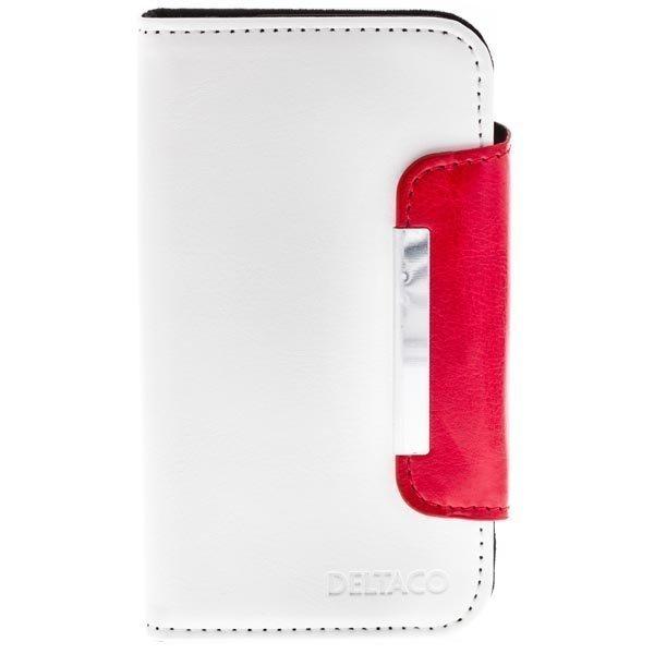 DELTACO nahk. suojus Samsung Galaxy S4 mallille 3 korttipaik.valk/pun
