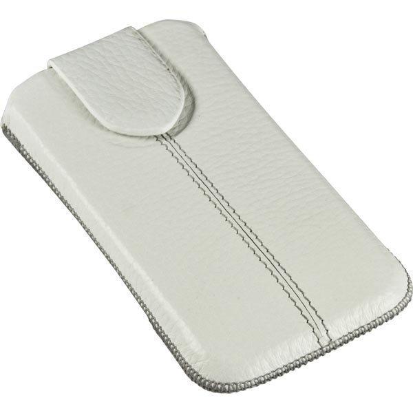 DELTACO nahkasuoja älypuhelimelle veto- ja lukkoläppä valkoinen