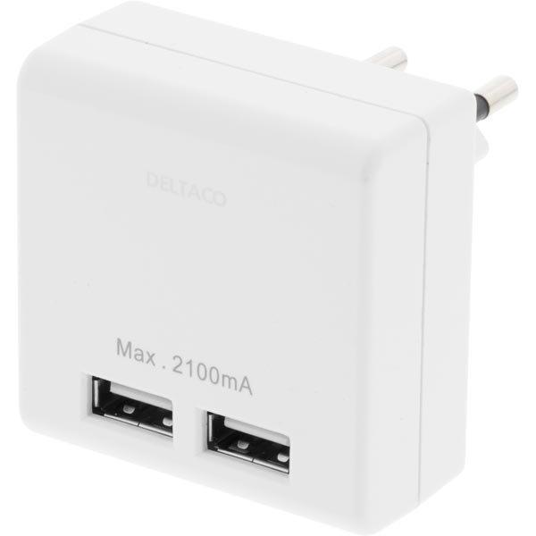 DELTACO seinälaturi 230V 5V USB 2xUSB-porttia valkoinen