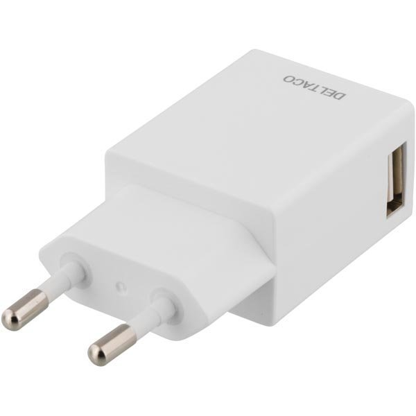 DELTACO seinälaturi 230V AC 5V DC 1A 1x USB valkoinen