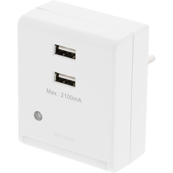 DELTACO seinälaturi valosensorilla 230V 5V USB 2xUSB-porttia valk