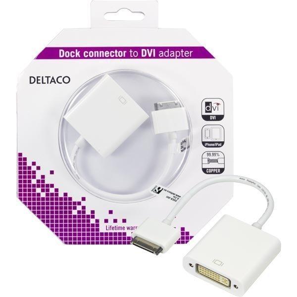 DELTACO sovitin telakkaliitos ur DVI-D iPhonelle iPadille valk.