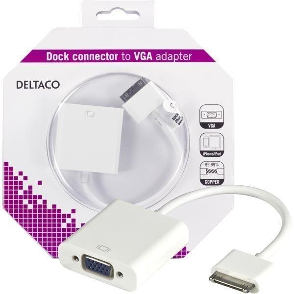 DELTACO sovitin telakkaliitos ur VGA HD15 na iPhone ja iPad 0 2m