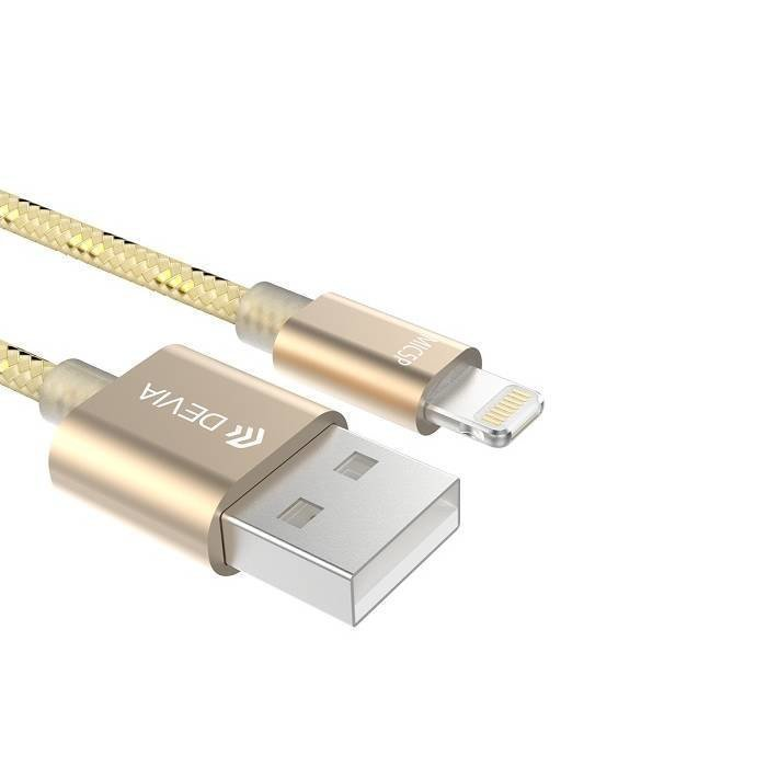 Devia iWonder iPhone Lightning / Micro USB latauskaapeli Kulta