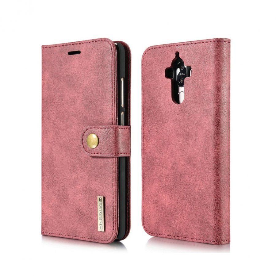 Dg.Ming Huawei Mate 9 Haljasnahka Kotelo Lompakko Punainen