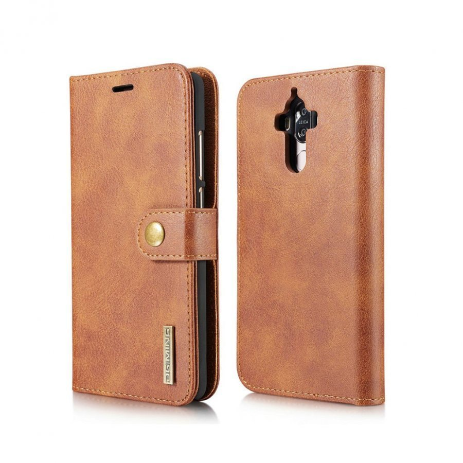 Dg.Ming Huawei Mate 9 Haljasnahka Kotelo Lompakko Ruskea