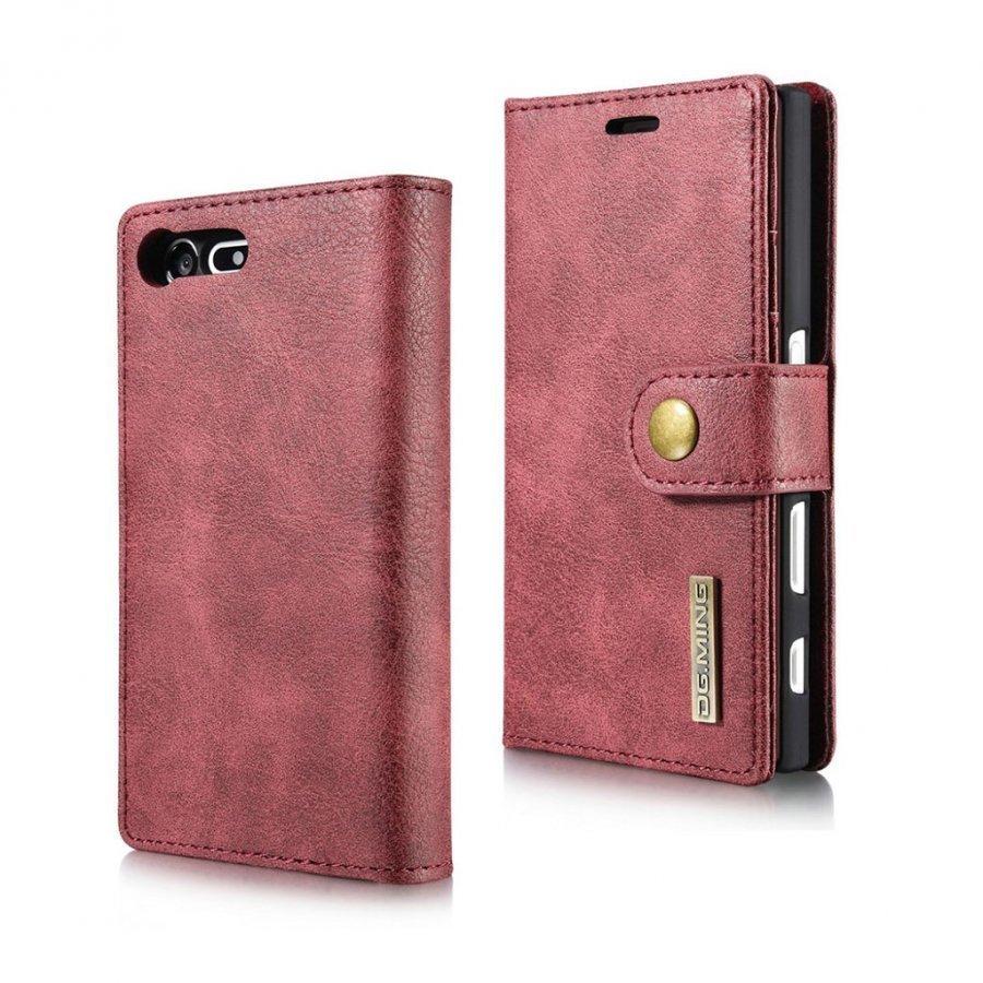 Dg.Ming Sony Xperia X Compact Haljasnahka Kotelo Lompakko Punainen