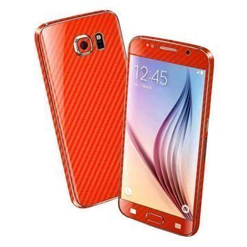 EasySkinz 3D Kuvioitu Hiilikuitukuori Samsung Galaxy S6 Punainen