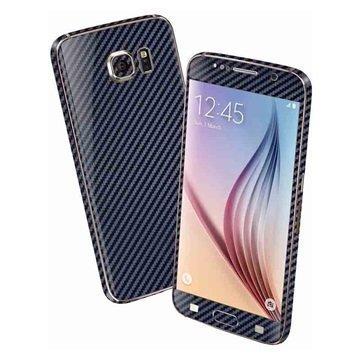 EasySkinz 3D Kuvioitu Hiilikuitukuori Samsung Galaxy S6 Tummansininen