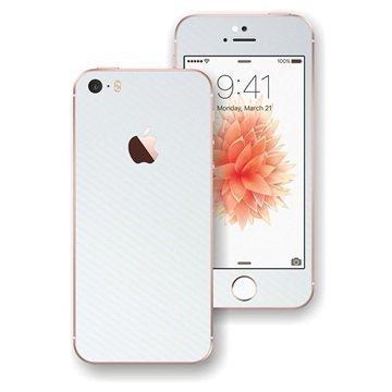 EasySkinz 3D Kuvioitu Hiilikuitukuori iPhone SE Valkoinen