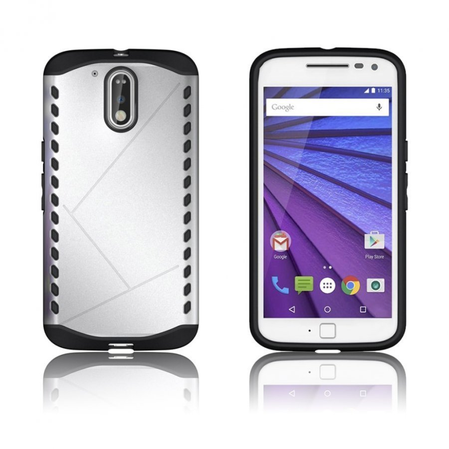 Erik Motorola Moto G4 / G4 Plus Suojaava Hybridi Kuori Hopea