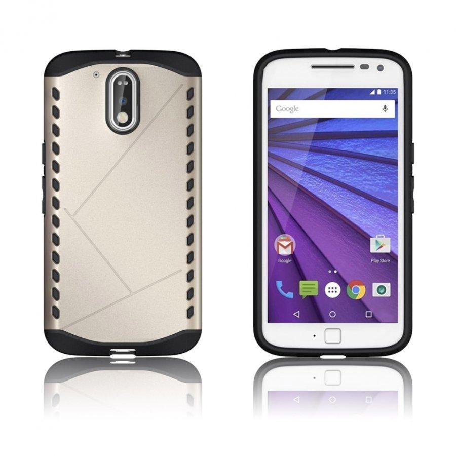 Erik Motorola Moto G4 / G4 Plus Suojaava Hybridi Kuori Kulta