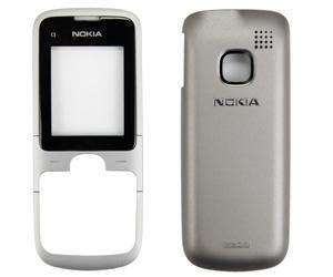 Etupaneeli + Akku kansi Nokia C1-01 silver musta Alkuperäinen