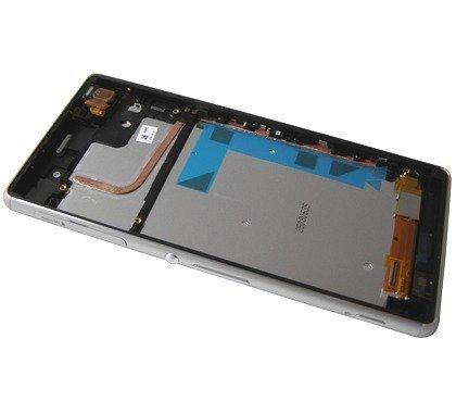Etupaneeli LCD Näytöllä kosketuspaneelilla ja kehyksellä Sony D6603/ D6643/ D6653 Xperia Z3 valkoinen Alkuperäinen