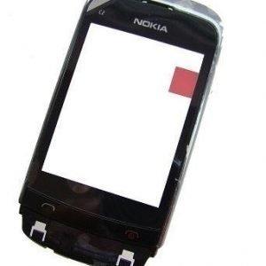 Etupaneeli Nokia C2-03/ C2-06/ C2-08 chrome musta Alkuperäinen