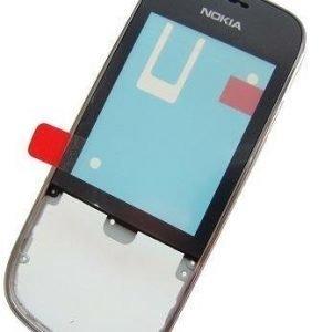 Etupaneeli + kosketuspaneelilla Nokia 202 Asha/ 203 Asha silver chrome