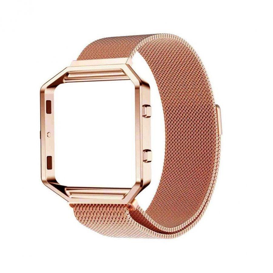 Fitbit Baze Magneettinen Ruostumaton Teräs Ranneke Kehys Rosee Kulta