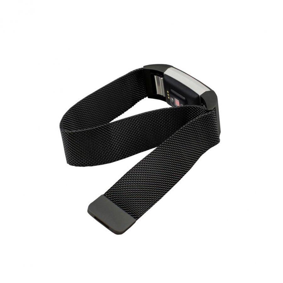 Fitbit Charge 2 Magneettinen Ruostumaton Teräs 180mm Ranneke Musta