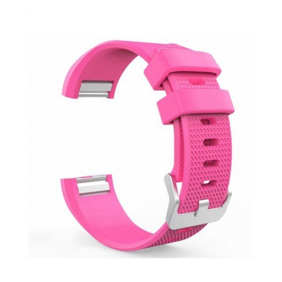 Fitbit Charge 2 Silikoni Ranneke Metalli Soljella Kuuma Pinkki
