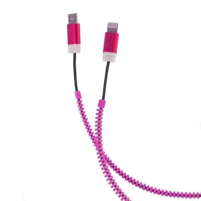 Forever 2in1 USB Vetoketju kaapeli micro USB ja Lightning liitännöillä Pinkki