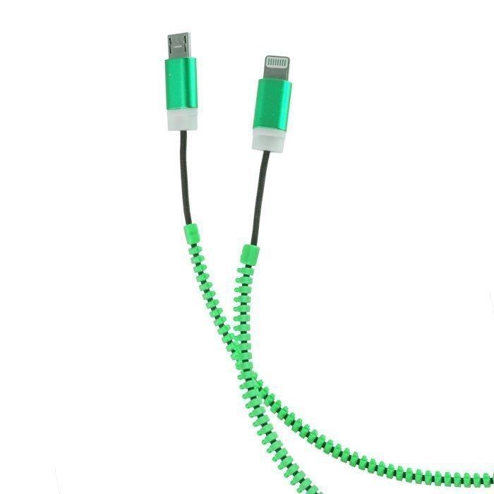 Forever 2in1 USB Vetoketju kaapeli micro USB ja Lightning liitännöillä Vihreä