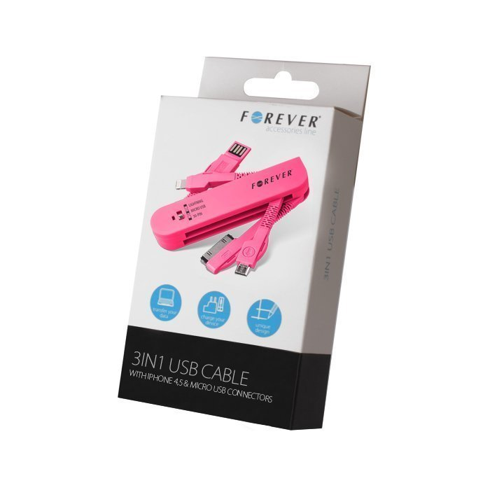 Forever 3in1 USB kaapeli Dock-liitin iPhone 4 & Lightning iPhone 5 & micro USB Pinkki
