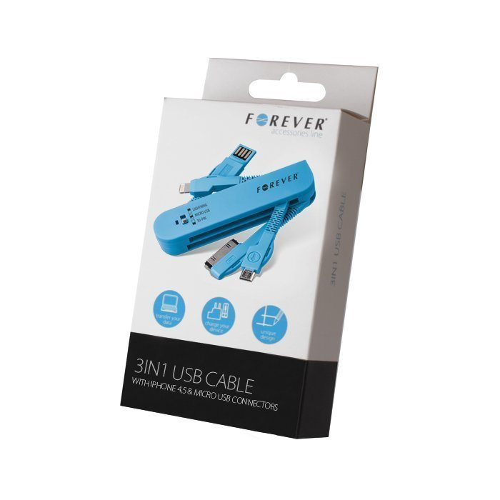 Forever 3in1 USB kaapeli Dock-liitin iPhone 4 & Lightning iPhone 5 & micro USB Sininen