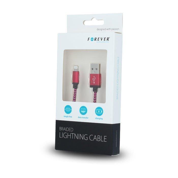 Forever Braided punottu kestävä USB Lightning lataus- ja synkronointikaapeli puhelimiin 1m Pinkki