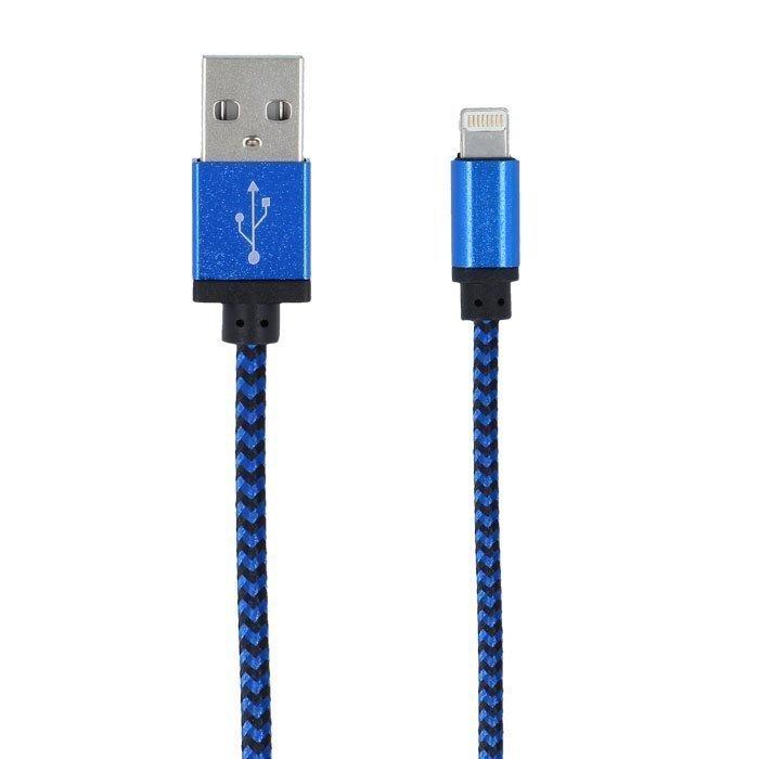 Forever Braided punottu kestävä USB Lightning lataus- ja synkronointikaapeli puhelimiin 1m Sininen