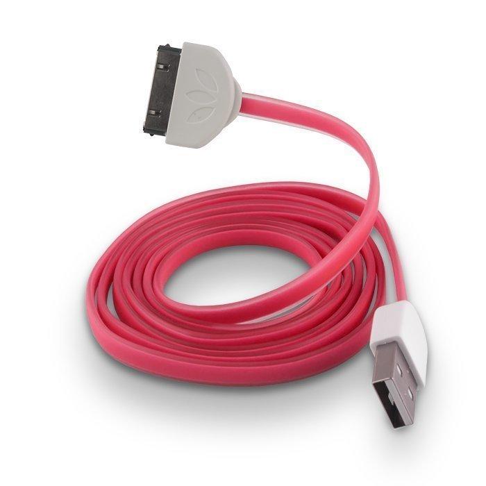 Forever Litteä Dock kaapeli iPhone 3/4 puhelimille 1m pinkki