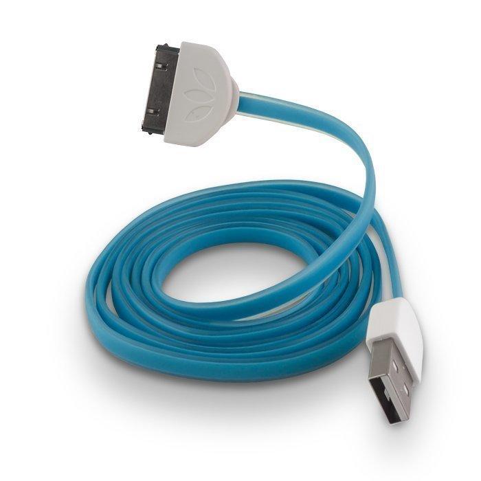 Forever Litteä Dock kaapeli iPhone 3/4 puhelimille 1m sininen