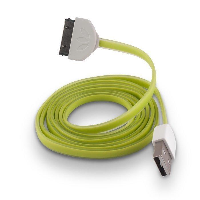 Forever Litteä Dock kaapeli iPhone 3/4 puhelimille 1m vihreä