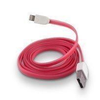 Forever Litteä USB Lightning lataus- ja synkronointikaapeli puhelimiin Pinkki