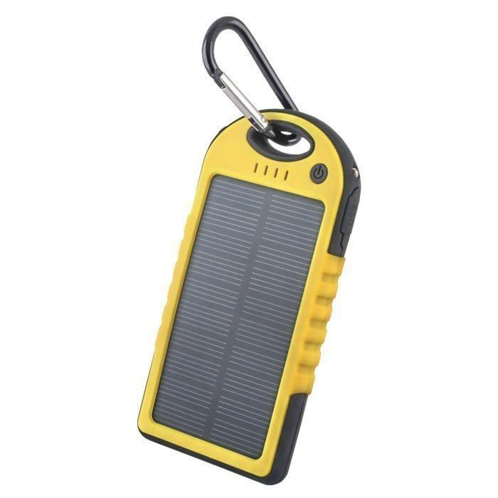 Forever PB-016 Aurinkokenno Power Bank vara-akku taskulampulla 5000 mAh Keltainen