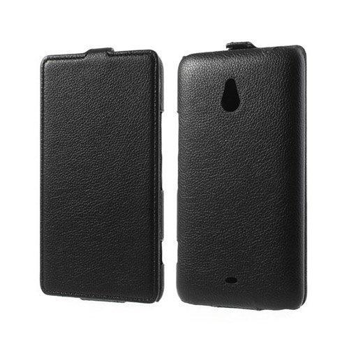 Fuji Musta Nokia Lumia 1320 Nahkakotelo Pystysuunnassa Avautuvalla Kannella