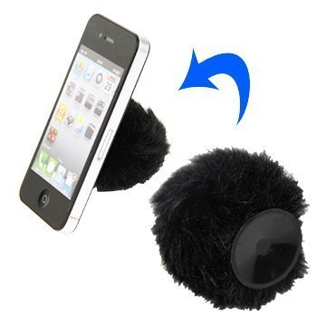 Fuzzy Puhelin Standi Musta