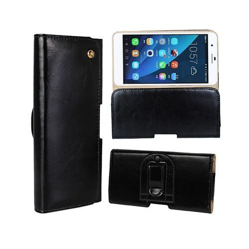 Gaarder Pouch Huawei Honor 6 Plus Vyökotelo Aitoa Nahkaa Musta